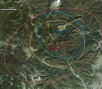 Map of three nuclear test in North Korea