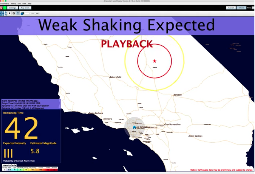 Screenshot of ShakeAlert