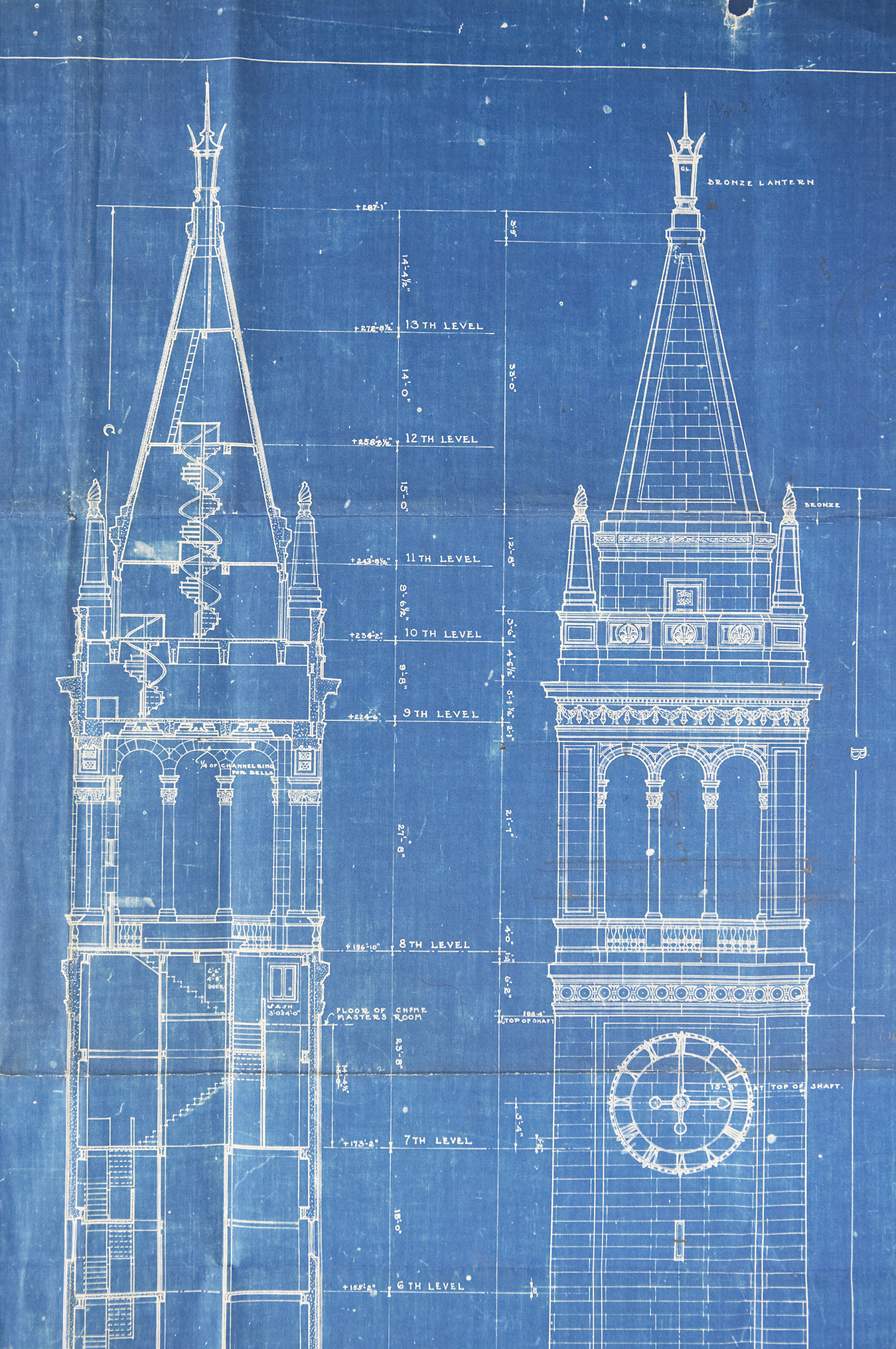 Blue and white sketch showing plans for the Campanille