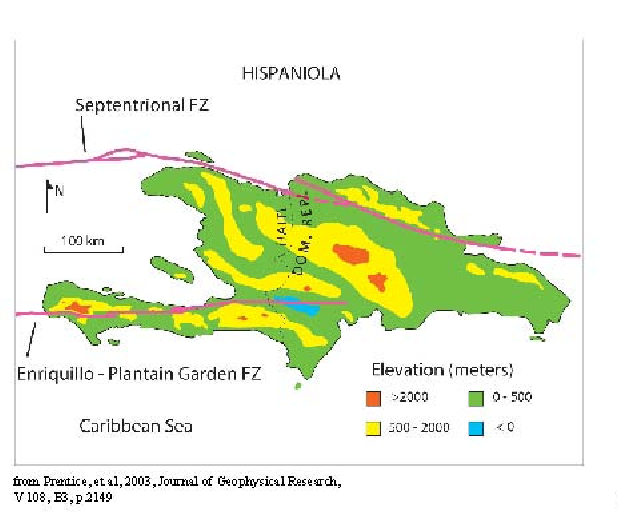 Faults on the island of Hispaniola.