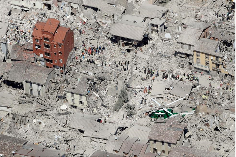 One historic building remains in the city of Armatrice after Wednesday's quake.