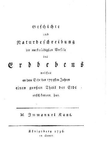 Title page of Immanuel Kant's compendium on the great Lisbon earthquake