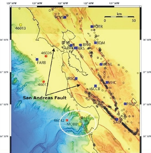 Map of BDSN station distribution and the San Andreas Fault.