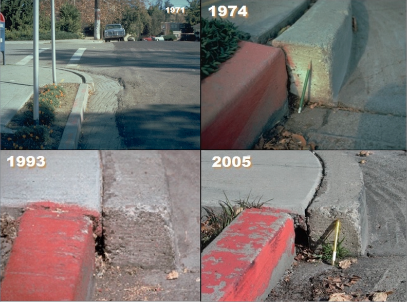 Over the decades the steady creep of the Hayward Fault has moved apart the two curbs at the intersection of Rose and Prospect streets in Hayward - making it a world famous icon of the restless Earth.