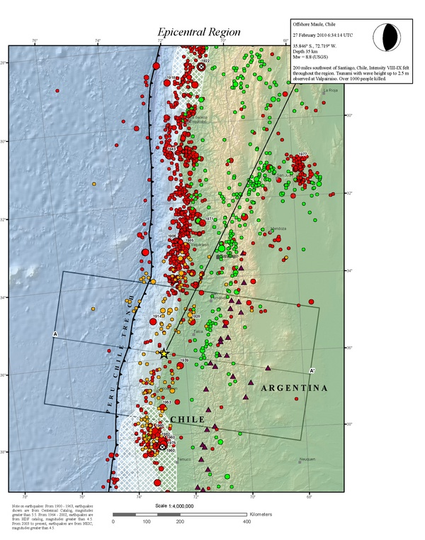 This map shows all earthquakes in southern Chile over the last 100 years with magnitudes larger than 5.5. Until Saturday, the area around Concepcion had much fewer quakes than the rest of coastal Chile. The yellow star depicts the epicenter of the most recent 8.8 temblor. (Map courtesy of USGS)