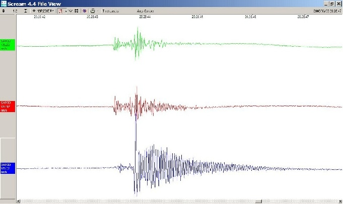 Recording of a magnitude minus 1.5 earthquake, measured inside a borehole in Parkfield, CA.