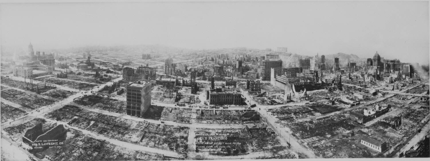 Ariel view of San Francisco after 1906 earthquake and fire.