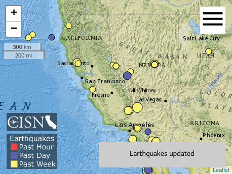 Realtime earthquake activity