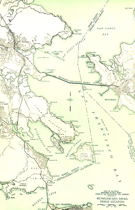 Map showing the Richmond-San Rafael bridge<br>Courtesy of Caltrans