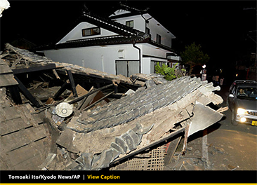 Photo showing damage from M 6.2 Japan quake
