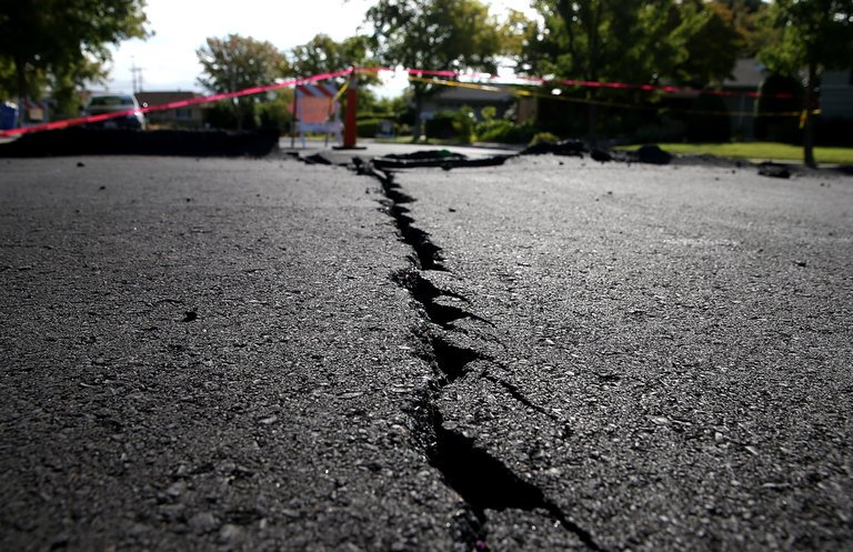 Photo of crack in asphalt