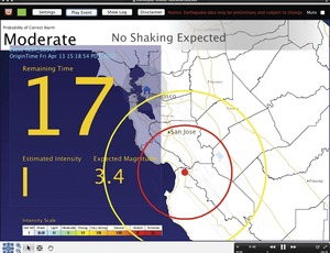 Earthquake Early Warning display screen