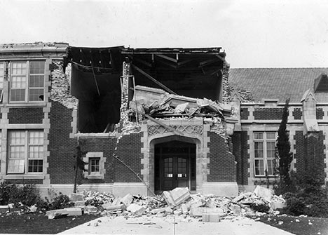 Damage from Long Beach earthquake