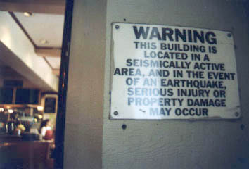 Seismological warning sign