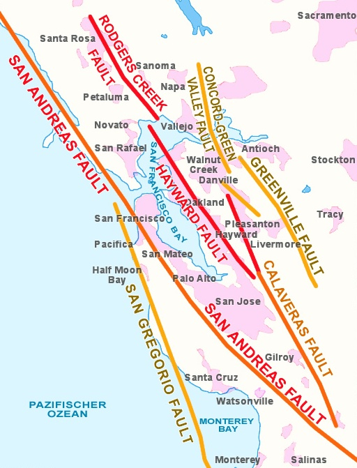 Map showing Bay Area earthquake faults.