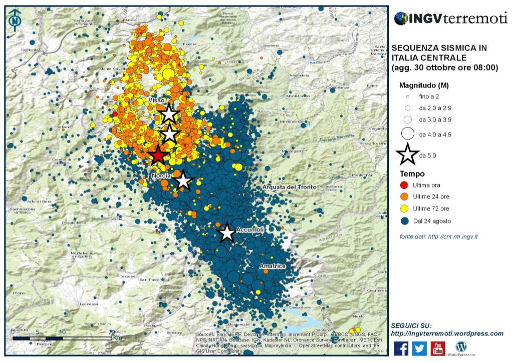 Map showing recent Italy quakes